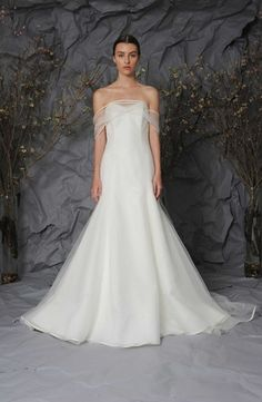 Strapless Fit and Flare Wedding Dress  with Dropped Waist in Silk. Bridal Gown Style Number:33488503
