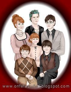 The Potter Family: Ginny, GodsonTeddy Lupin, Harry, Lily, James and Albus