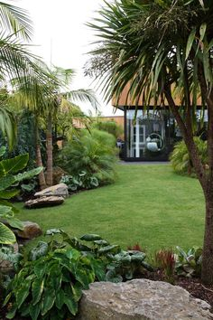 Tropischer Garten Mt Eden New Zealand. Designer: Xanthe White Jardim tropical do Monte Eden Nova Zelândia. Tropical Backyard Landscaping, Tropical Garden Design, Large Backyard, Landscaping With Rocks, Front Yard Landscaping, Landscaping Ideas, Tropical Gardens, Tropical Plants, Tropical Patio