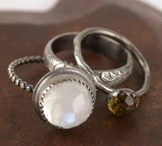 Moonstone Ring withSterling Silver  Stacking by SimplyAdorning