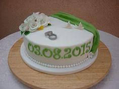 Hochzeitstorte weiß grün aus Fondant