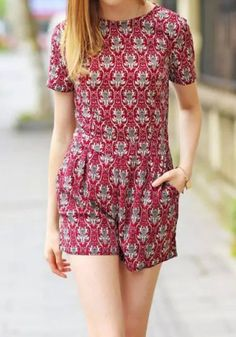 Ethnic Style Round Neck Short Sleeve Printed Women's Romper