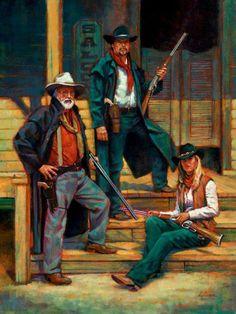 """The Patrons""  oil  24x36   western art / Fujiwara"
