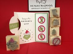 Stampin' Up! Undefined carvings Grinch card; Circle Thinlits; Dude, You're Welcome, Photopolymer; Bring on the Cake; Christmas