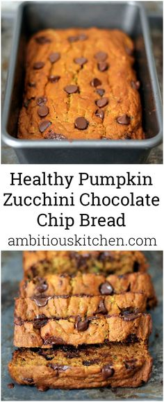 Pumpkin Zucchini Chocolate Chip Bread A delicious and moist low fat healthy pumpkin bread with zucchini and chocolate chips! This is amazing!A delicious and moist low fat healthy pumpkin bread with zucchini and chocolate chips! This is amazing! Healthy Baking, Healthy Desserts, Delicious Desserts, Yummy Food, Delicious Chocolate, Healthy Food, Dinner Healthy, Healthy Dinners, Healthy Chicken