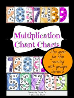 MULTIPLICATION MEMORIZATION 24 Posters in 3 designs for memorizing multiplication facts or skip counting... #Multiplication #CCSSMath
