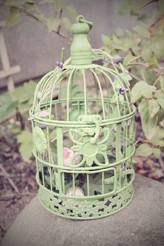 small Metal Green cottage bird cage decorated shabby chic. Via Etsy.