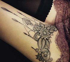 body art tattoos women back tattoo am oberschenkel, mandala, bein tattoo, tattoo motive fuer frauen Tatoo Henna, Tattoo On, Piercing Tattoo, Mandala Tattoo, Tattoo Quotes, Tattoo Thigh, Cover Tattoo, Lace Thigh Tattoos, Thigh Henna
