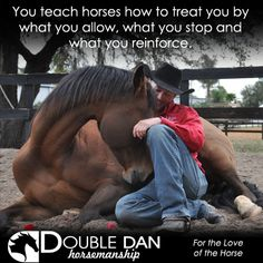 Double Dan Horsemanship Training Tip You teach horses how to treat you by what you allow, what you stop and what you reinforce.