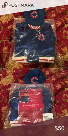 American Girl Doll - Chicago Cubs Jacket & Hat American Girl Doll - Chicago Cubs Jacket & Hat with bonus Chicago Cubs book purchased from Wrigley Field gift store! American Girl Other