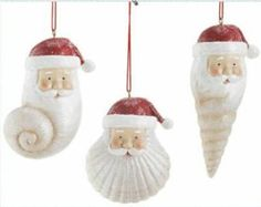 Seashell Ornaments Idea : I would use Fimo to make the Santa heads and then use shells for the beard. Must make these next year. Seashell Christmas Ornaments, Nautical Christmas, Christmas Ornament Sets, Santa Ornaments, Ornament Crafts, Christmas Art, Christmas Projects, Holiday Crafts, Christmas Decorations