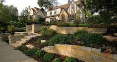 Front yard Retaining wall idea and landscaping design.