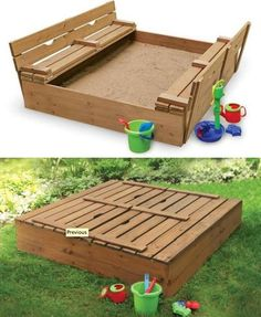 A sand box with seats that fold down for a lid