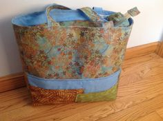 Batik tote, lined and zipped, blue, green leaf print, 3 front pockets, 30 in. Handle, fancy stitched trims, 13.5 x13.5 x4.5, knitting bag by HarneysHandmades on Etsy