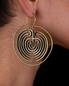 Hoop Earrings - Big Hoops - Tribal Earrings - Labyrinth Jewelry - Gold Earrings