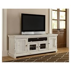 Progressive Furniture Willow 74 in. Distressed White Entertainment Console – The Home Depot Progressive Furniture Willow 74 in. Entertainment Center Wall Unit, Diy Entertainment Center, Entertainment Furniture, Living Tv, Living At Home, Living Area, Wall Units With Fireplace, Fireplace Wall, Coastal Living Rooms