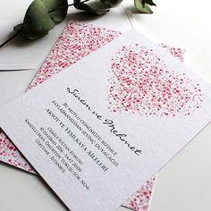 Romantik Kalp - Modern ve Romantik Düğün Davetiyesi - Tasarım: © Dört Köşe Davetiye