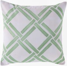 18 x 18 Seafoam Green and White Printed Bamboo Design Pillows