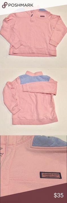 Vineyard vines shep pullover pink and blue sz xl In excellent condition! Pink wit blue shoulder detail. Size xl. Vineyard Vines Tops Sweatshirts & Hoodies