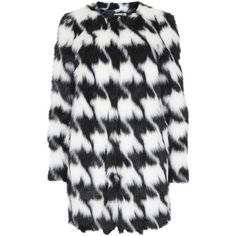 M Michael Kors Monochrome Houndstooth Faux Fur Coat (41 KWD) ❤ liked on Polyvore featuring outerwear, coats, jackets, coats & jackets, fur, houndstooth coat, fake fur coats, black and white houndstooth coat, faux fur coat and black and white coat