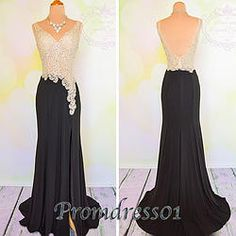 #promdress01 prom dresses - 2015 black chiffon white lace beaded long slit prom dress for teens, mermaid ball gown, evening dress #coniefox #2016prom