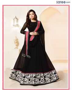 Black Georgette Suit with Embroidery Work - 4