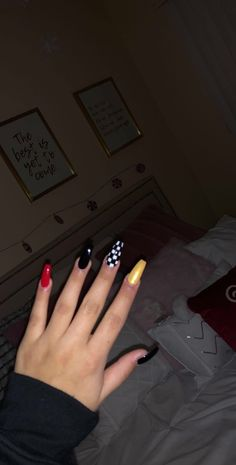 Red Black Checkered Flames Nails Unique Edgy Acrylic Coffin Nails In 2019 Black