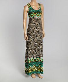 Another great find on #zulily! Black & Green Tribal Sleeveless Maxi Dress by California Women #zulilyfinds  $17
