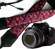 Giraffe camera strap. Purple animal camera strap. Bright DSLR / SLR Camera Strap. Durable, light weight and well padded camera strap. code 00063