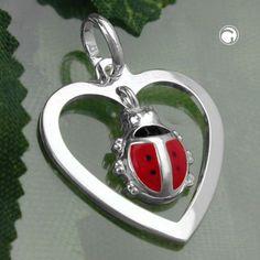 Anhänger, Herz Marienkäfer, Silber 925 Legierung: 925/000 Silber, Sterling Silver, nickelfrei