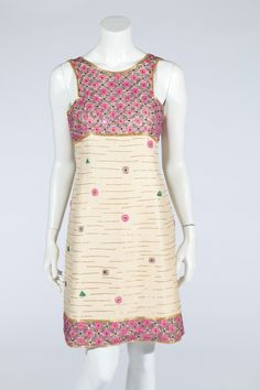 Tiziani couture beaded ivory gazar cocktail dress, the design probably by Karl Lagerfeld, mid 1960s.