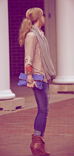 wedges.skinny jeans. baggy striped shirt topped off with an infinity scarf - neutral tones