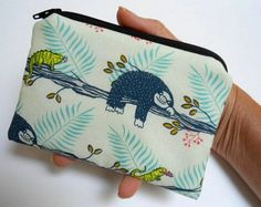 Sloth Days Little Zipper Pouch Coin Purse ECO by JPATPURSES