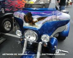 Eagle custom airbrush motorcycle art by Henry Gerson of Daytona-Airbrush...check us out on Facebook