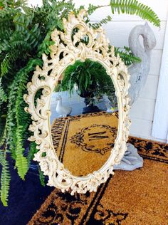 A personal favorite from my Etsy shop https://www.etsy.com/listing/487163275/vintage-lrg-ornate-white-gold-mirror