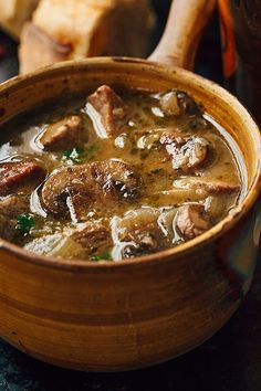 A savory steak and ale soup with tender mushrooms—flavorful, comforting and nourishing! Steak and Ale Soup with Mushrooms Steak and Ale Soup with Tender Mushrooms Bowl Of Soup, Soup And Salad, Beef Recipes, Cooking Recipes, Recipies, Hamburger Recipes, Barbecue Recipes, Steak Soup, Steak And Ale