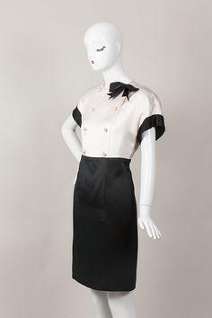 Cream and Black Silk Bow Dress