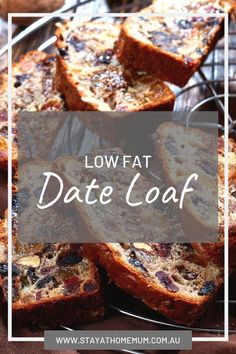 """""""This Low Fat Date Loaf is my beautiful Mum's recipe. I quite often will have a slab for breakfast in the morning (with loads of butter! I had forgotten how totally mouth watering it is! Healthy Cake, Healthy Sweets, Vegan Cake, Healthy Baking, Loaf Recipes, Baking Recipes, Cake Recipes, Dessert Recipes, Pastries"""
