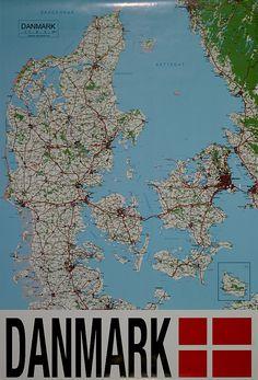 Danmarks kort i 61 x cm Danish, Maps, Diagram, Poster, Scandinavian, Countries, Tourism, Politics, Nature