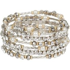 Breathtaking Hematite and Clear Crystal on Silver Tone Wrap Bracelet with Faux Pearl Accents - Fashion Jewelry
