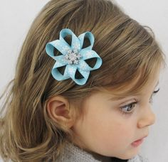 Blue Snowflake Hair Bow Clip - Toddler Hair Bow - Christmas Hair Bow - Small Blue and Silver Snowflake Bow - Girls Hair Bows. $4.00, via Etsy.  Love this!