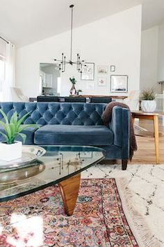 Amazing Blue Living Room Design Ideas - Page 36 of 45 Blue Velvet Sofa Living Room, Living Room Sofa, Living Room Decor, Blue Sofas, Living Rooms, Living Room Colors, Living Room Designs, Living Room Remodel, Cheap Home Decor
