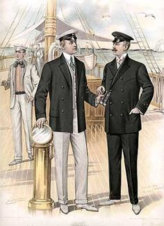 Edwardian Clothing - Yachting  Edwardian clothing, suitable for yachting, was designed by the Jno. J. Mitchell Co. and advertised in The Sartorial Art Journal in 1905.