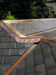 Very Steep Roof With Copper Shingles Snow Guards