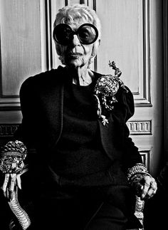 Style & Design Icon: Iris Apfel…  Iris Apfel (born August 29, 1921) is an American businesswoman, interior designer, and fashion icon.