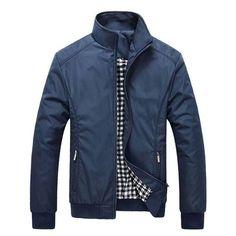 Mens Windproof Jacket Rib Knit Cuff Zipper Pocket Stand Collar Coat at Banggood