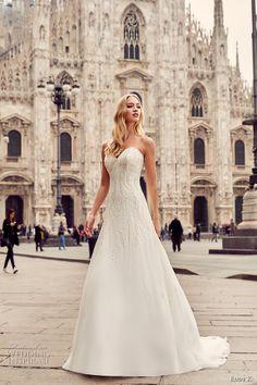 eddy k milano bridal 2017 strapless sweetheart neckline heavily embellished bodice beaded drop waist a  line wedding dress sweep train (md227) mv -- Eddy K. 2017 Wedding Dresses