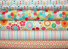 5 Fat Quarters So Happy Together by Deena Rutter Riley Blake Designer Fabric. $12.50, via Etsy.