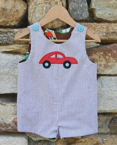 We have great matching brothers outfits today! The reversible seersucker shortall has a mod car appliqué and features coordinating brown fabric with a cool car design. Extra length on straps allows for room to grow. Sizes: 6m, 9m, 12m, 18m & 24m. Was: $55 Now: $29. Visit www.facebook.com/jdoriginals for more info.