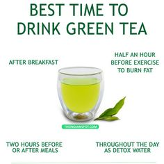 Best time to have green tea - Never have green tea on an empty stomach Not immediately after meals either No late night sipping Only 2-3 cups a day DILUTED GREEN TEA THROUGHOUT THE DAY If you want to detox your body using green tea, you need to have little sips of it throughout the day. Green tea's detoxing properties works slow and you need to have it little by little to reap all the benefits. If you gulp it down in one go, it won't really detox and simply go out of the body in the form ...